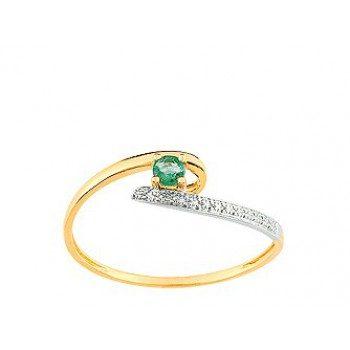Solitaire or jaune diamants et emeraude