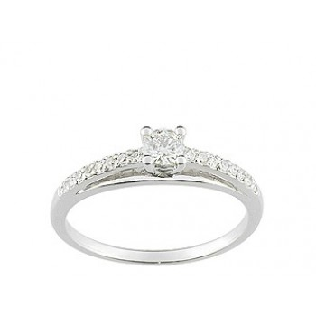 Solitaire Or blanc diamants