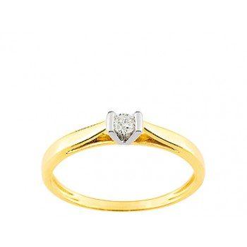Solitaire Or jaune diamant