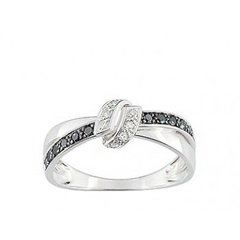Solitaire Or blanc diamants noirs