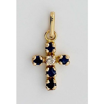 Croix saphir et diamant