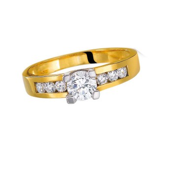 Solitaire Or jaune diamants